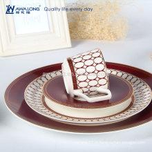 Design élégant de haute qualité Vintage Porcelain Bone China Western Tableware Set Dinner Plates