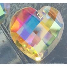 Ab Couleur Coeur plat dos pierres avec deux trous