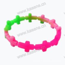 Nova moda design cruz forma personalizado pulseira de silicone, silicone barato