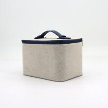 Custom Logo Travel Portable Large Cotton Linen Canvas Makeup Cosmetic Bag Case