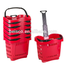 Supermarket rolling basket cart with telescopic handle