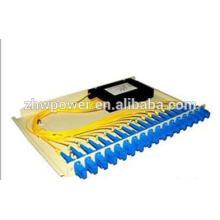 Divisor de fibra óptica do material plástico do tipo da cassete, divisor ótico do pigtail da fibra do sc fc, apc upc 1 * divisor óptico da fibra de N