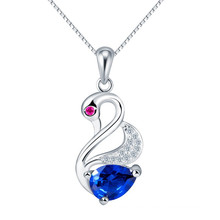 Venta al por mayor Austria cristal elemento zafiro Swan encanto colgante
