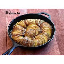 Rodajas de Fry Pan hierro fundido con ayudante horno manija