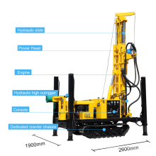 Pneumatic crawler rig Hydraulic Winch matched compressor water borehole drilling machine