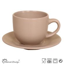Matte Brown Ceramic Coffee Cup & Saucer