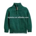 New design children clothes green kid pullover tall neck boy sweater