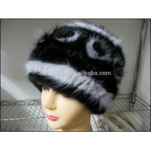 Fashion Lady Black Mink Fur Caps