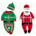 Два цвета новорожденного Рождество одежда толстый хлопок зима ребенка ползунки
