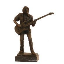 Musik Dekor Messing Statue Bass Player Handwerk Bronze Skulptur Tpy-750