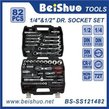 82 PCS 1/4 '' 1/2 '' Dr. Cr-V Handwerkzeuge Steckdose Set