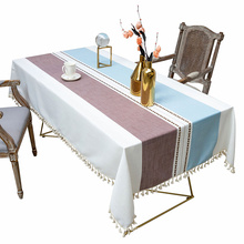 DEQI Recycle Linen Table Cloth Rectangle Table Cloth with Tassel Tablecloth Cover Table Mat for Home Outdoor Part Decoration