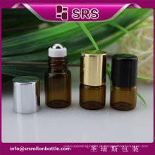 SRS nenhum vazamento rolo de vidro vazio no frasco, cor âmbar 2ml frasco de vidro do perfume