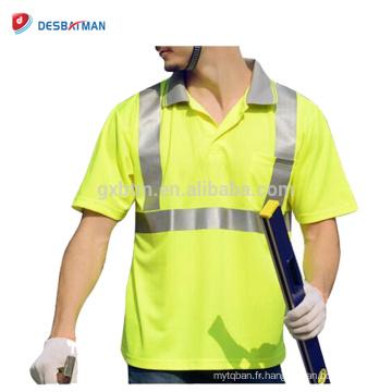 En gros Pas Cher Haute Visibilité Mens Léger Respirant Polyester Polo T-Shirt Réfléchissant Sécurité Travail Wears Avec Poche