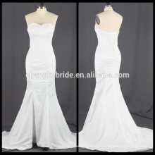 Real Pictures Satin Mermaid Wedding Dress Long White Strapless Bridal Dress
