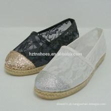 Sexy glitter senhora plana sapatos de sapatos de renda transparente mulheres sapato senhora 2015