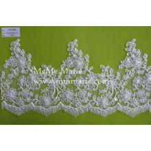 China-Großverkauf, der Baumwollspitze mit Qualität / Rand wulstige Blumenbrautspitzeordnung für Hochzeitskleid CTC133B trimmt