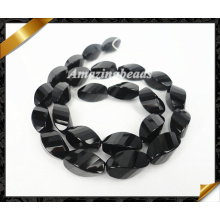 Natural Black Onyx Faceted Twisted Rice Shape Gemstone Bead (AG018)