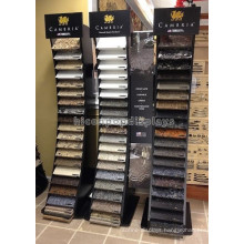Customized Wood Floor Standing Stone Products Showroom Retail 20 Pieces Per Row Tile Display Rack