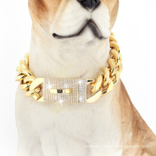 Factory Drop Shipping 19MM Dog Collar 18k Gold With Diamond Pet Chains For Dog Chains 316L Stainless Steel