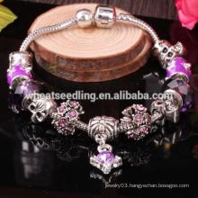 wholesale high quality silver jewelry, murano glass beads charm bracelet