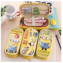 Sacs créatifs de crayon promotionnel, sacs imprimés jaunes de crayon