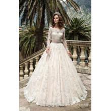 off Shoulder Long Sleeve Muslim Ballgown Wedding Dress (BH004)
