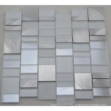 Aluminum Mix White Glass Mosaic Wall Tile (HGM391)