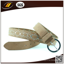 La venta caliente Brown brillante mujer correas Rhinestone cinturones de cuero