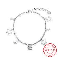 Die meisten Mode 925 Sterling Stahl Armband Mond und Stern Form Anhänger Sterling Silber Armband