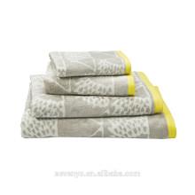 Ensembles de serviette Jacquard gris clair de haute qualité HTS-026 en gros