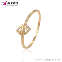 51335 Xuping wholesale two triangle shape simple gold bangle designs with stone for women