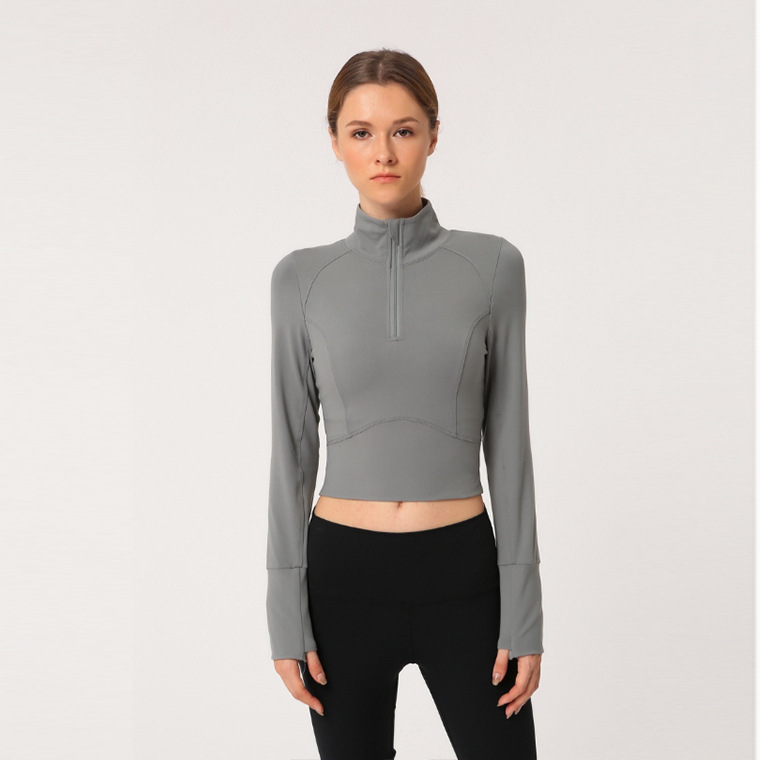 long sleeve yoga crop top hoodie (2)