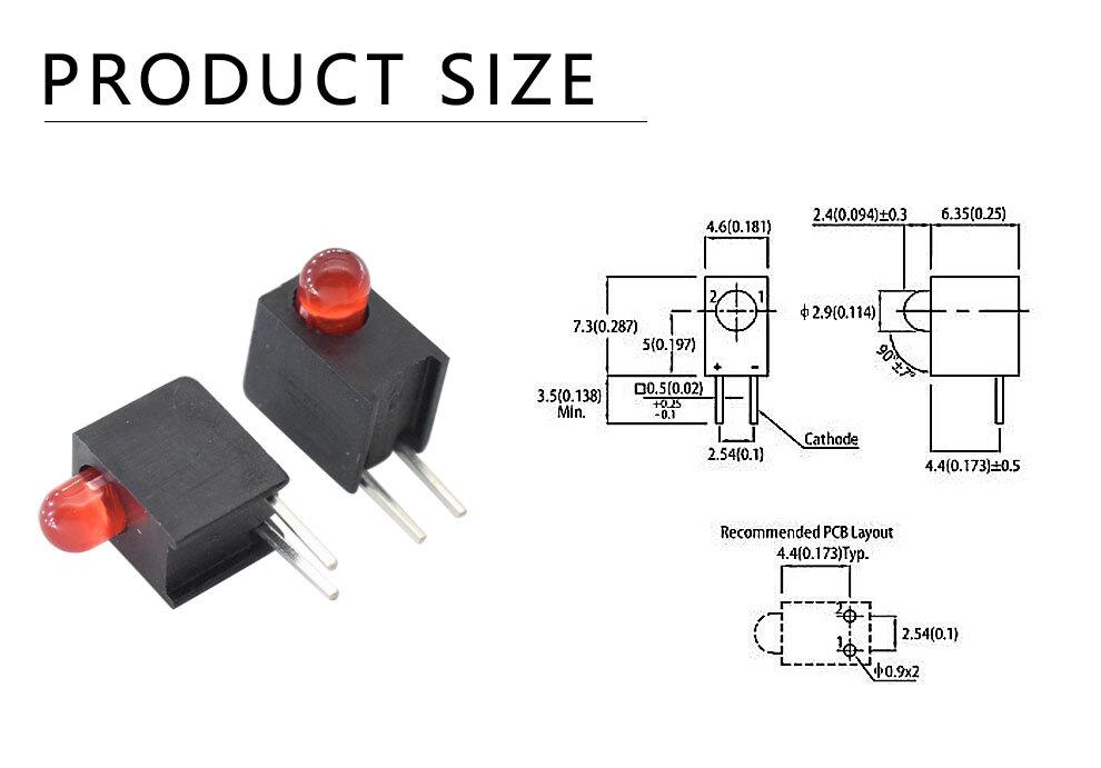 312URD-3.5HK 3mm Red LED Single level circuit board indicator