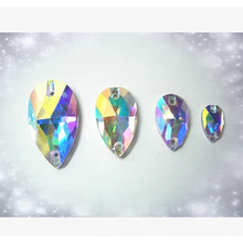 Teardrop Ab Color Sew on Glass Beads Crystal Ab