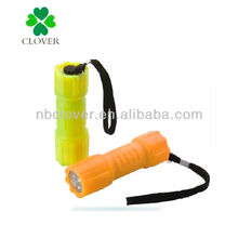Plastic 9 led mini led flashlight with strap