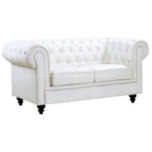 Sala de estar sofá de couro Chesterfield dois lugares