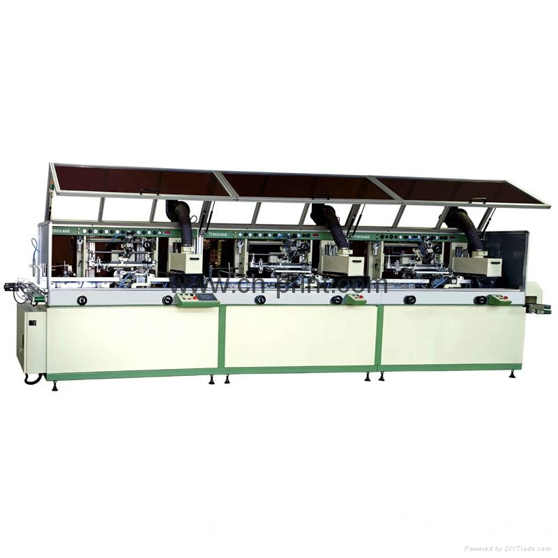 Automatic 3 Colour Cylinder Uv Screen Printing Machine