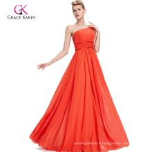 Grace Karin One Shoulder Beaded Long Orange Evening Dresses CL2015-1