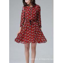 Sommer Rot Runde Blumendruck Langarm Damen Kleid