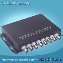 Monitor de multiplexador de vídeo 8 canais de fibra óptica para conversor coaxial com RS485
