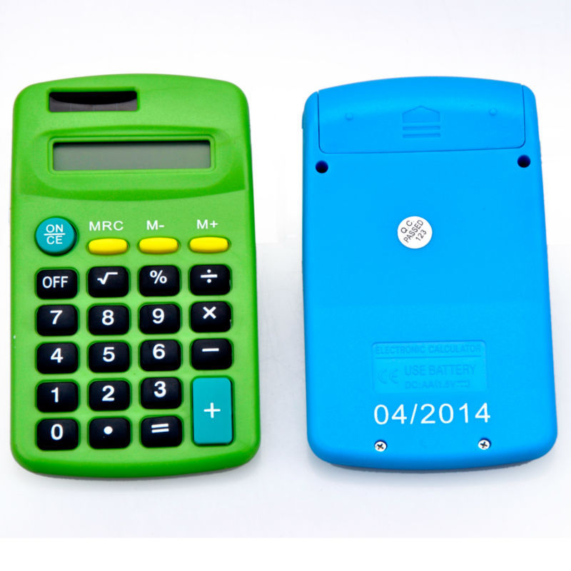 8 chiffres Dual Power Small Pocket Gift Calculator