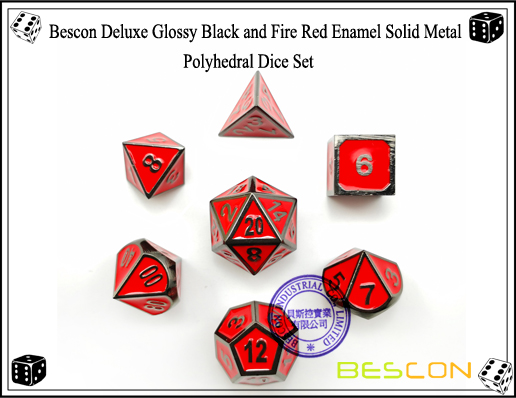Bescon Deluxe Glossy Black and Fire Red Enamel Solid Metal Polyhedral Role Playing RPG Game Dice Set (7 Die in Pack)-4