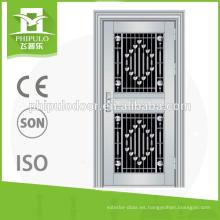 Puertas dobles de acero inoxidable de seguridad comercial usadas para exterior residencial.