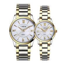 Amantes de la moda Pareja Relojes de lujo Completo de acero inoxidable Relojes de oro para hombres Mujeres Regalos