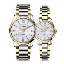 Fashion Lovers Couple Luxury Watches Full Stainless Steel Gold Watches for Men Women Gifts