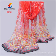 LINGSHANG new floral women digital printing scarf silk feel neck mask headband wrap dress design chiffon scarves