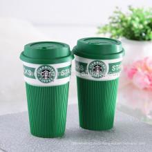 Tasse de voyage en café en céramique Starbuck avec poignée et couvercle en silicone