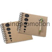 Schreibwaren Mini Promotion Geschenk Recycled Notebook mit Kugelschreiber