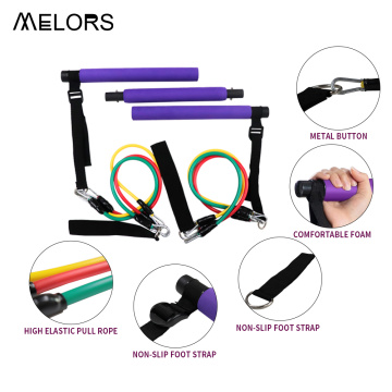 Brand New Home Gym Resistance Band Stik Latihan 3 Bagian Pilates Bar Kit